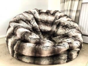 Bavarian wolf faux fur bean bag