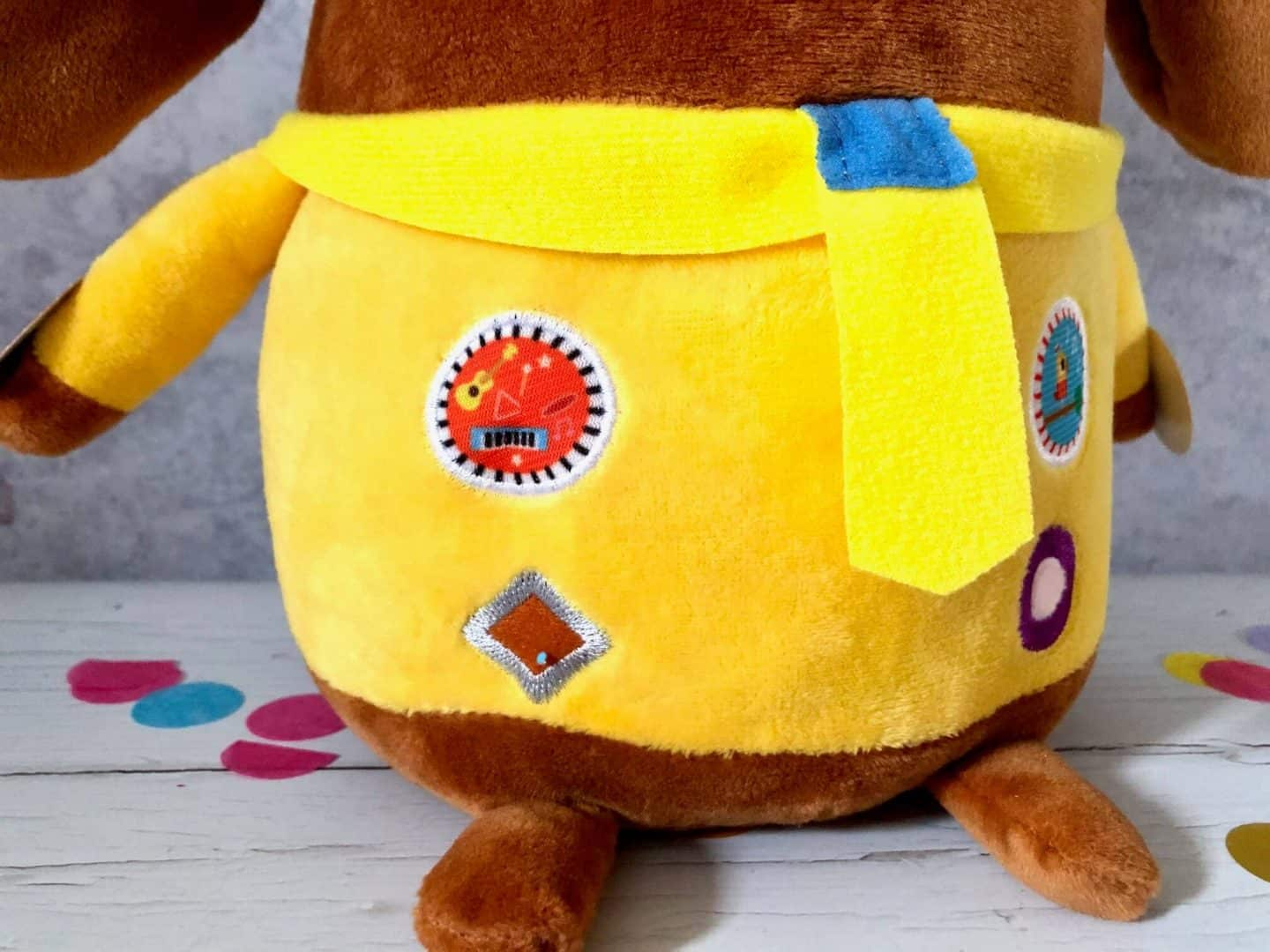 Stitching on Hey Duggee's badges