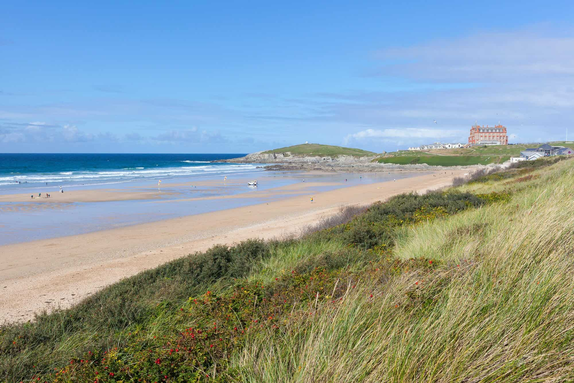 Fistral Beach with The Headland Hotel in the distance