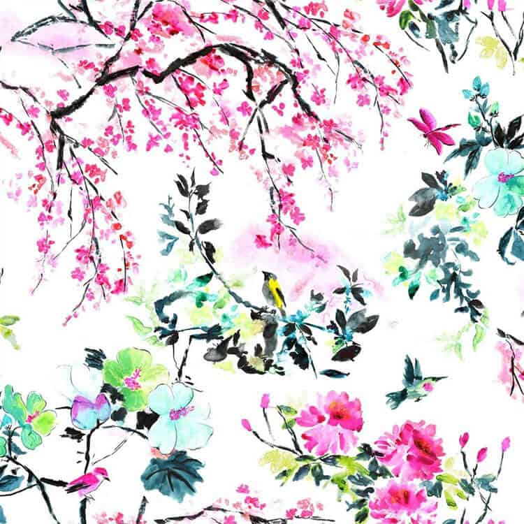 Chinoiserie Flower Fabric