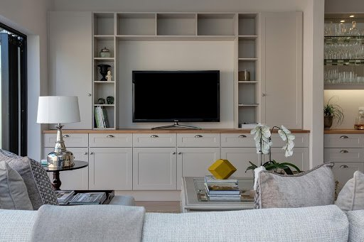 Living room interior with clever shelving