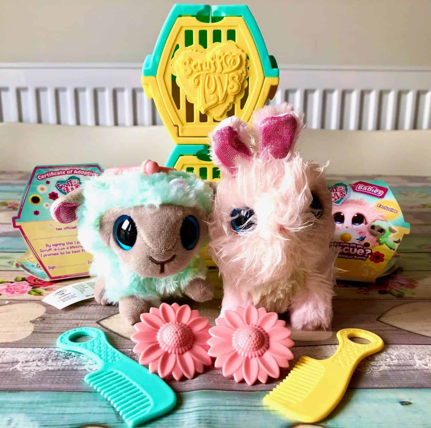 Scruff-a-Luvs - Spring Babies - bunny and lamb with comb and flower dummy