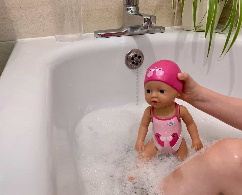BABY born My First Swim Girl Doll in the bath