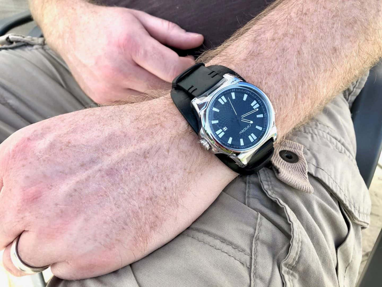Mr B wearing a wrist watch