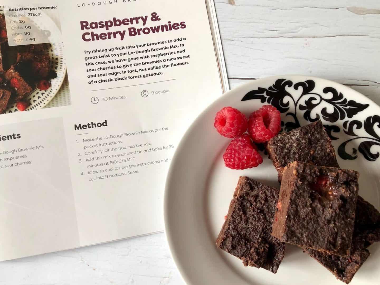 Lo-Dough raspberry and chocolate brownies