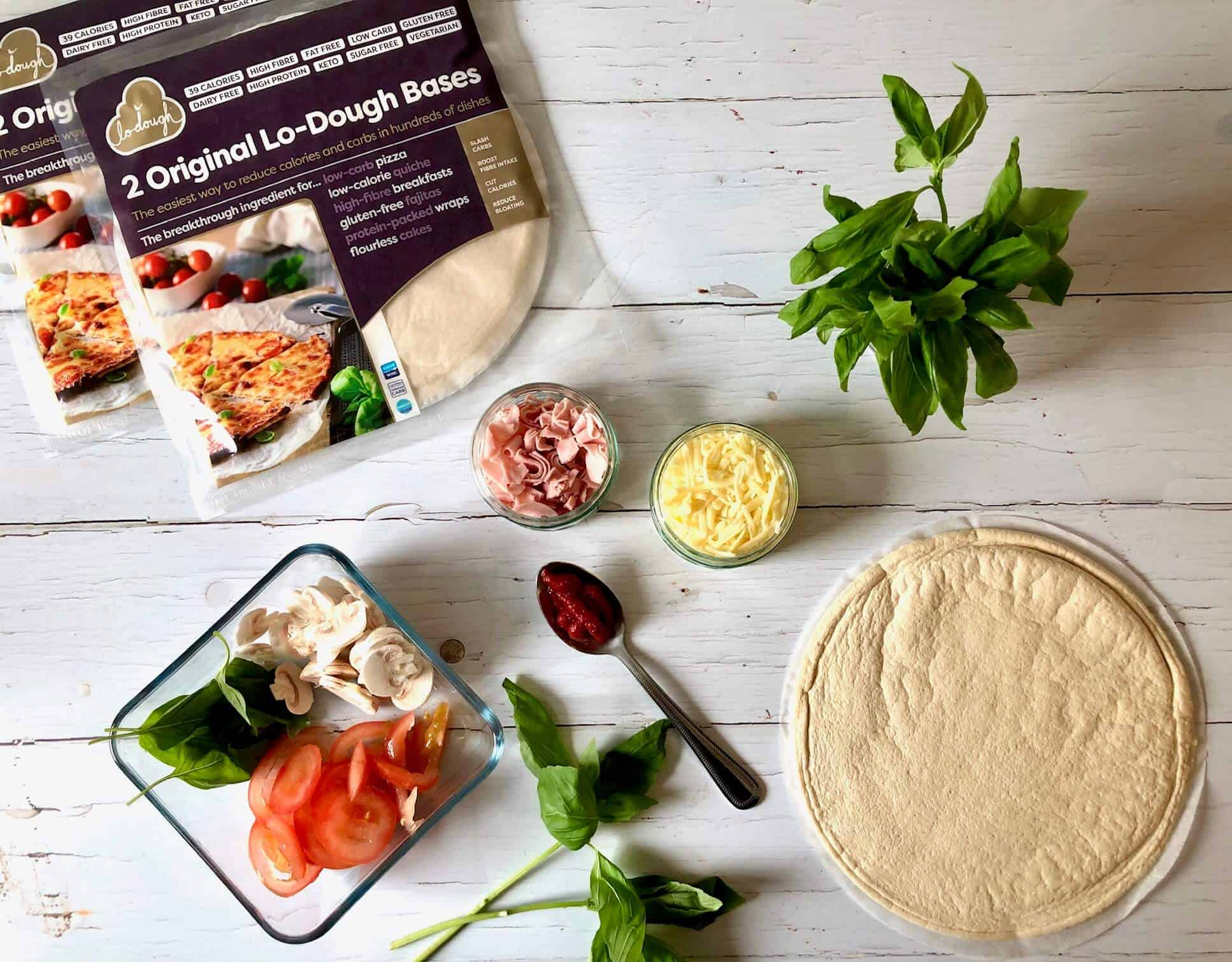 Original Lo-Dough bases - ingredients for making a pizza with Lo-Dough