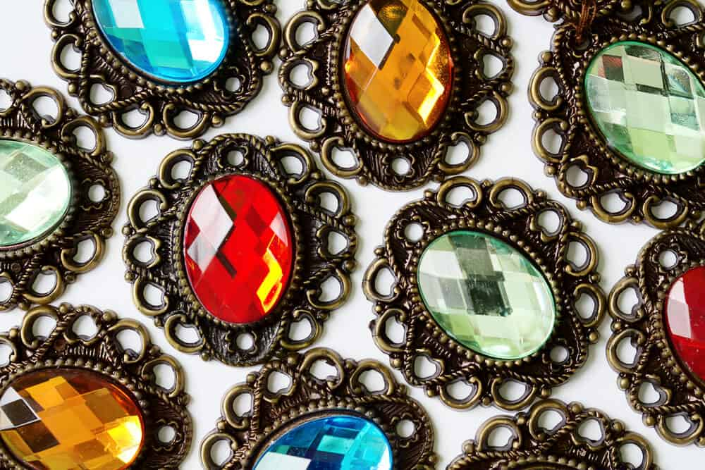 costume jewellery - colourful brooches
