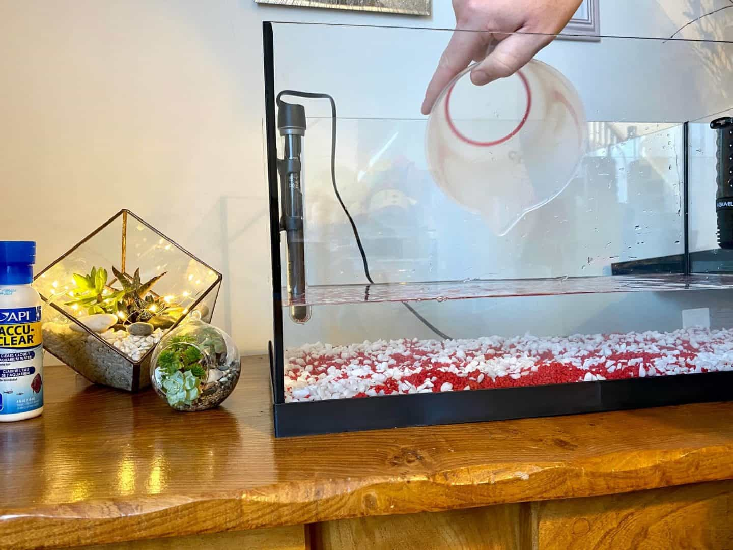 Adding water into a fish tank
