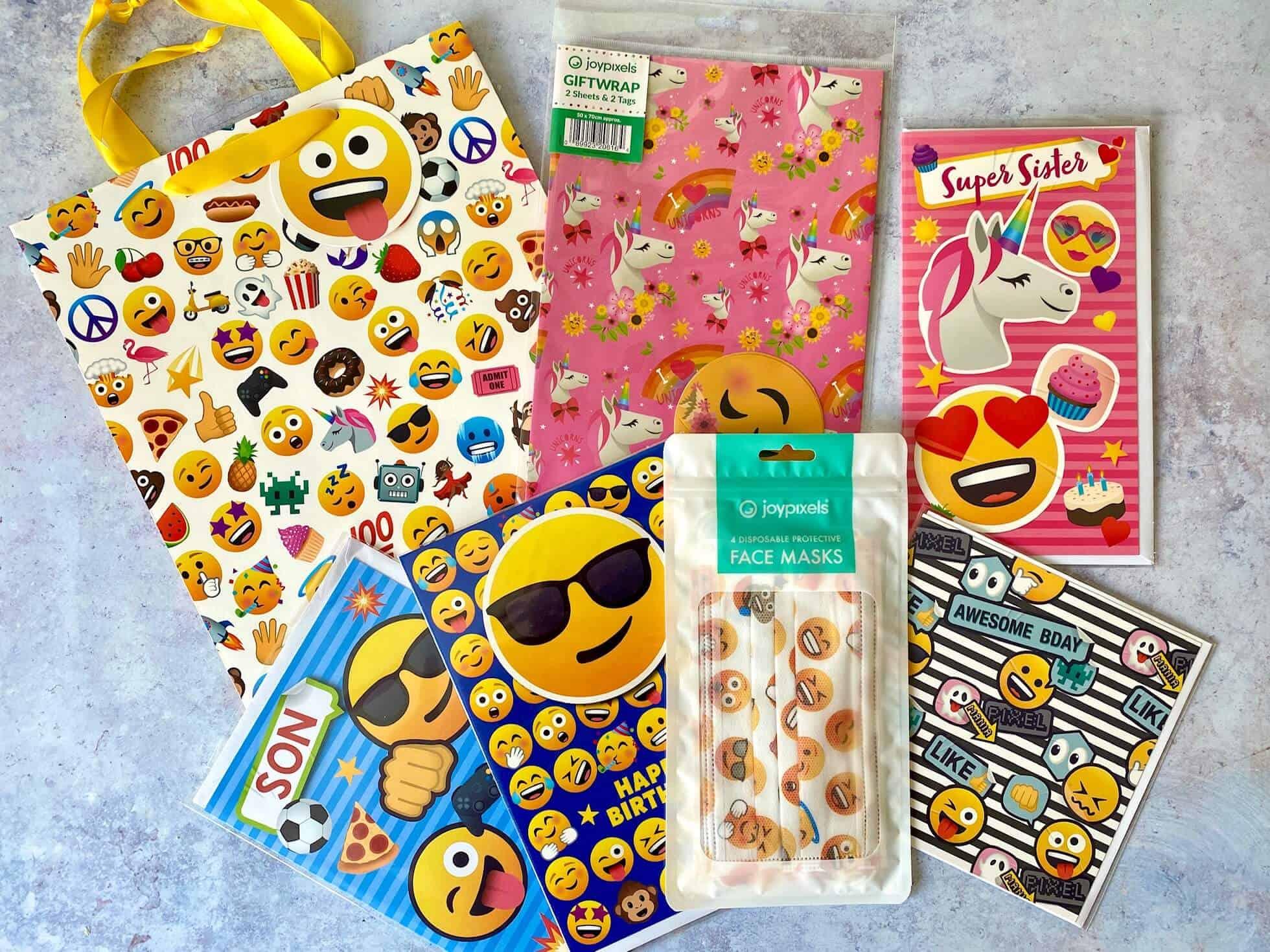 JoyPixels collection - gift bag, warp, cards and face masks