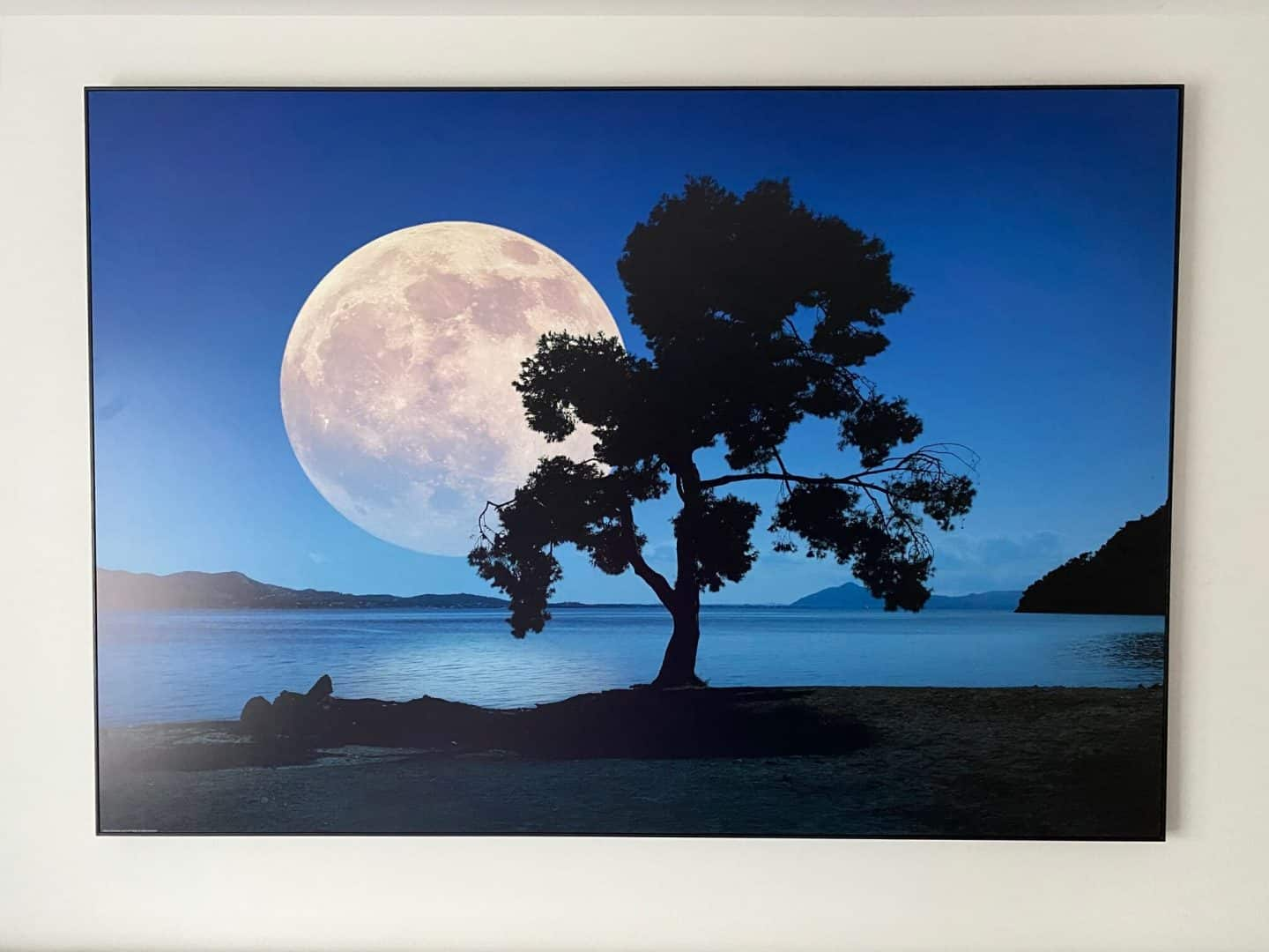 Moon rising over the sea - wall art