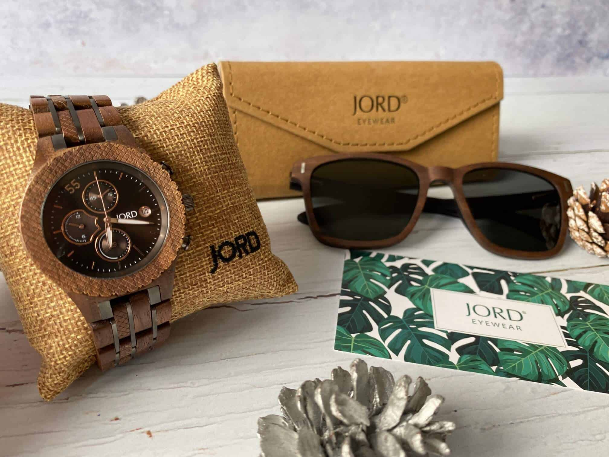 Conway in Walnut and Jet Black and sunglasses - JORD gift set
