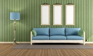 wood paneling in modern living room